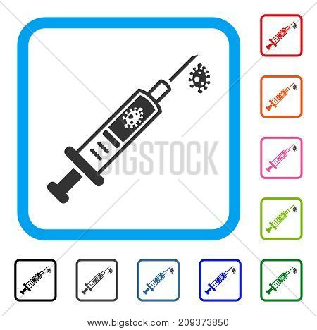 Infection Injection icon. Flat gray pictogram symbol in a light blue rounded square. Black, gray, green, blue, red, orange color variants of Infection Injection vector.