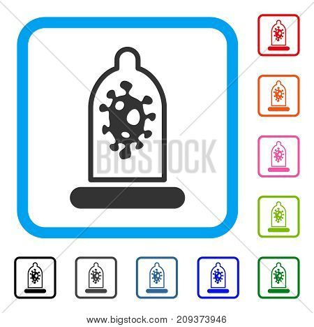 Infection Protection icon. Flat grey pictogram symbol in a light blue rounded rectangle. Black, gray, green, blue, red, orange color variants of Infection Protection vector.