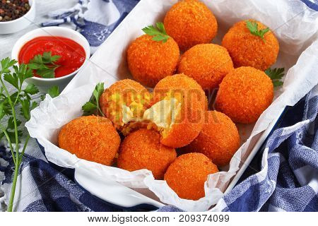 Delicious Hot Italian Arancini In Dish