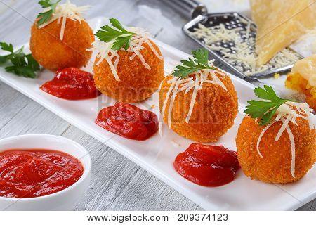 Delicious Hot Italian Arancini On Plate