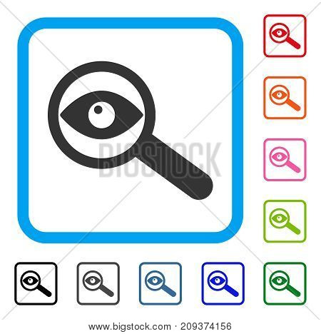 Investigate icon. Flat grey iconic symbol in a light blue rounded square. Black, gray, green, blue, red, orange color variants of Investigate vector. Designed for web and software UI.