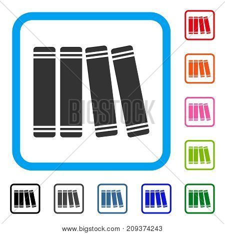Library Books icon. Flat gray iconic symbol inside a light blue rounded frame. Black, gray, green, blue, red, orange color additional versions of Library Books vector.