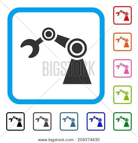 Manipulator icon. Flat gray iconic symbol inside a light blue rounded squared frame. Black, gray, green, blue, red, orange color variants of Manipulator vector.