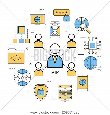Vector round linear concept of very important person - VIP, or successful teamwork. Group of workers in center and business icons around. Modern web banner