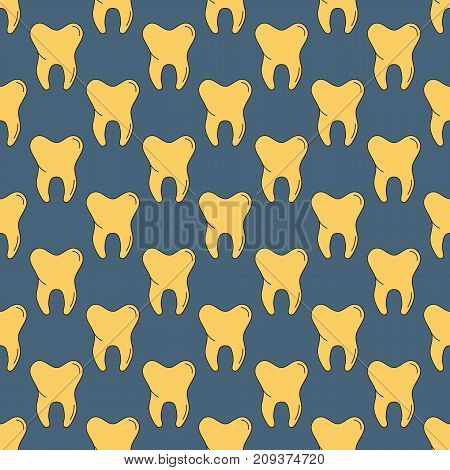 Vector seamless pattern with many yellow teeth on dark background