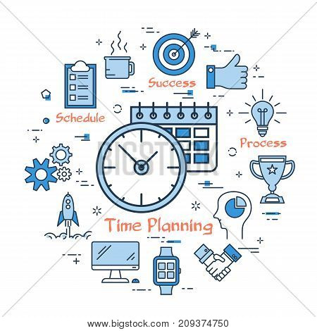 Vector blue time planning, management concept. Clock and calendar with linear icons on white background. Round web banner
