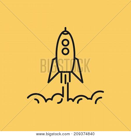 Vector line art rising up rocket with clouds of smoke. Startup business concept. Isolated web outline icon on yellow background
