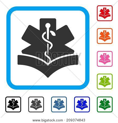 Medical Knowledge icon. Flat gray pictogram symbol inside a light blue rounded rectangle. Black, gray, green, blue, red, orange color variants of Medical Knowledge vector.