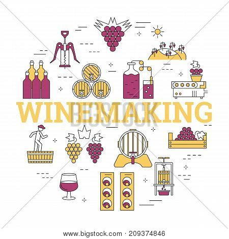 Vector linear round concept of viticulture, winemaking and storage of products and letters WINEMAKING. Isolated banner with outline icons in purple and yellow colors