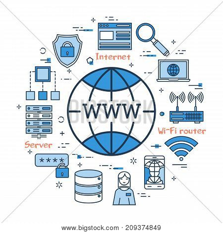 Vector linear round concept of world wide web - internet. Isolated illustration with outline icons in dark and light blue colors. Square web banner