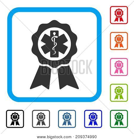 Medical Seal icon. Flat gray iconic symbol inside a light blue rounded frame. Black, gray, green, blue, red, orange color additional versions of Medical Seal vector.