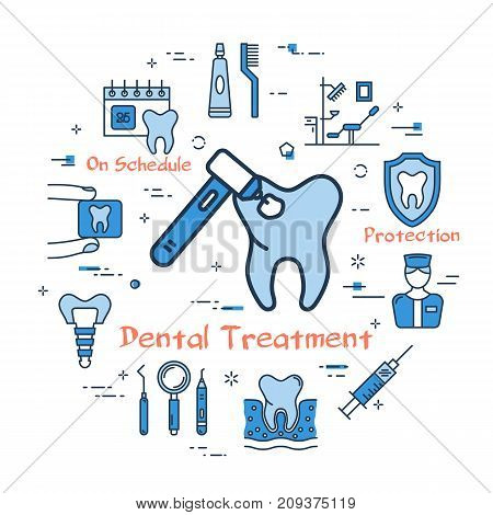 Vector linear blue round concept of Dental Treatment. Bur with tooth in the center and various line icons - toothpaste, dentist, cavity and instrument