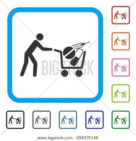 Medical Shopping icon. Flat grey pictogram symbol inside a light blue rounded square. Black, gray, green, blue, red, orange color variants of Medical Shopping vector.