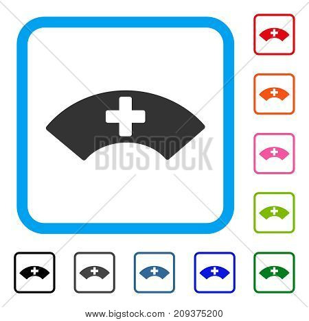 Medical Visor icon. Flat grey iconic symbol in a light blue rounded square. Black, gray, green, blue, red, orange color variants of Medical Visor vector. Designed for web and application UI.