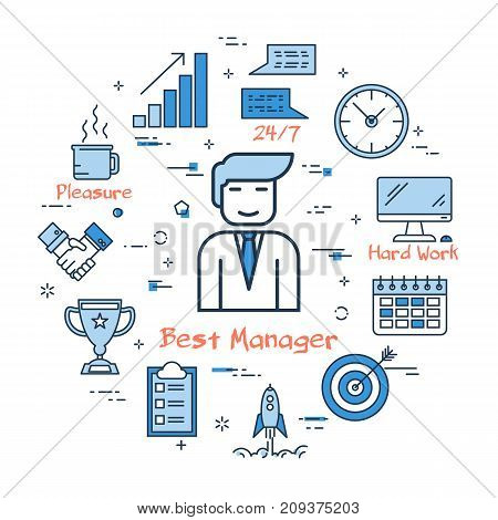 Vector linear blue round concept of best manager. Smile businessman, office worker in the center and around the various line icons