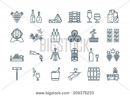 Vector set of colored 24 linear outline dark blue icons. Wine production and service isolated pictographs. Viticulture, winemaking and storage, tools and equipment