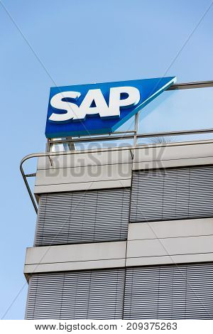 Prague, Czech Republic - October 14: Sap Multinational Software Corporation Logo On Czech Headquarte