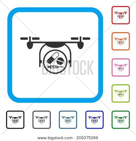 Medication Quadcopter icon. Flat gray iconic symbol in a light blue rounded rectangle. Black, gray, green, blue, red, orange color versions of Medication Quadcopter vector.