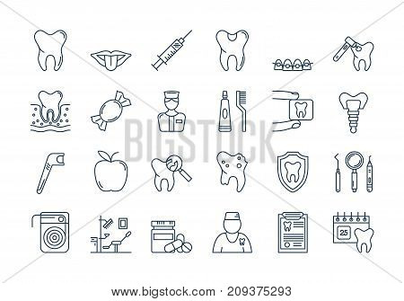 Vector set of outline icons. Dental care isolated pictographs. Teeth, tools, treatment, professional health care and orthodontics, implants in modern thin line style