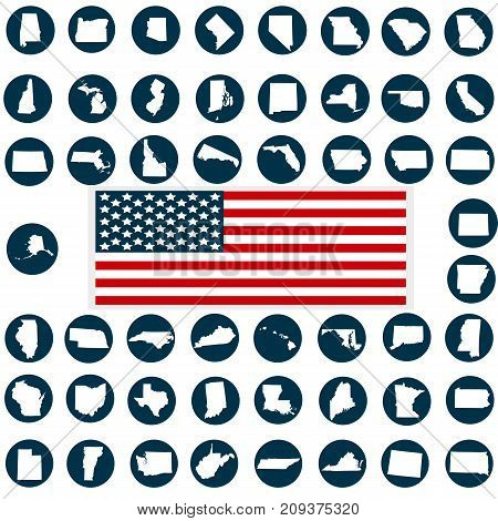 A set of American states silhouettes American flag