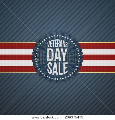 Veterans Day Sale paper Emblem on blue striped Background. Vector Illustration