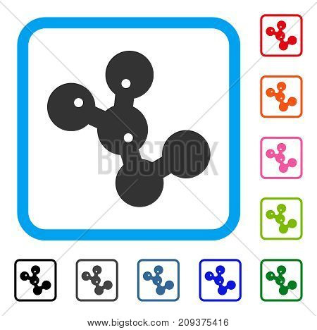 Microbes Colony icon. Flat grey iconic symbol in a light blue rounded squared frame. Black, gray, green, blue, red, orange color variants of Microbes Colony vector. Designed for web and app UI.