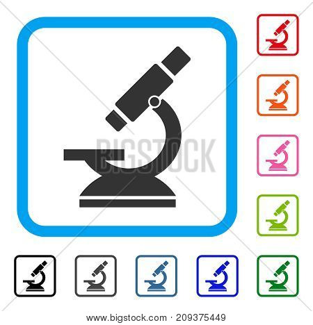 Microscope icon. Flat grey pictogram symbol in a light blue rounded rectangular frame. Black, gray, green, blue, red, orange color additional versions of Microscope vector.