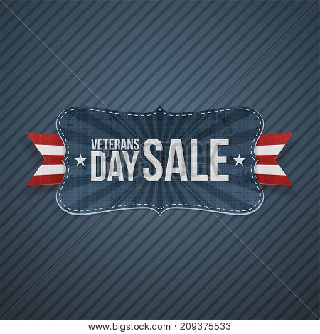 Veterans Day Sale realistic Label and Ribbon on blue striped Background. Vector Illustration