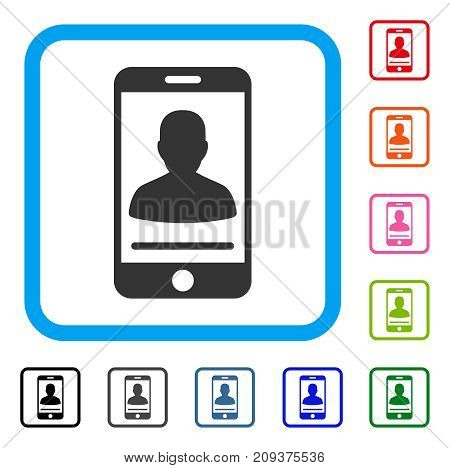 Mobile Contact icon. Flat gray pictogram symbol inside a light blue rounded rectangular frame. Black, gray, green, blue, red, orange color additional versions of Mobile Contact vector.