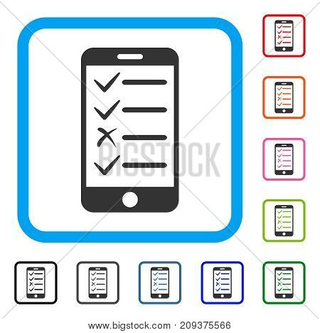 Mobile Test icon. Flat gray pictogram symbol in a light blue rounded square. Black, gray, green, blue, red, orange color versions of Mobile Test vector. Designed for web and app UI.