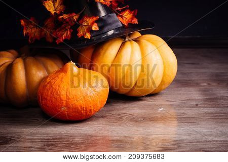 on a wooden table lie yellow and orange gourds, with a witch's Halloween hat and autumn maple leaves