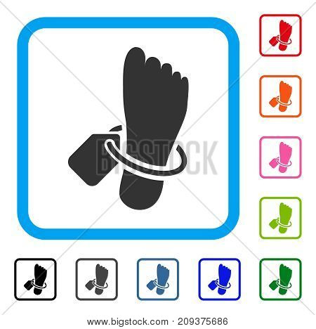 Mortuary Tag icon. Flat gray iconic symbol inside a light blue rounded squared frame. Black, gray, green, blue, red, orange color versions of Mortuary Tag vector.