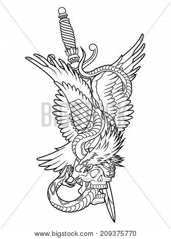 traditional eagle with snake and dagger tattoo vector illustration