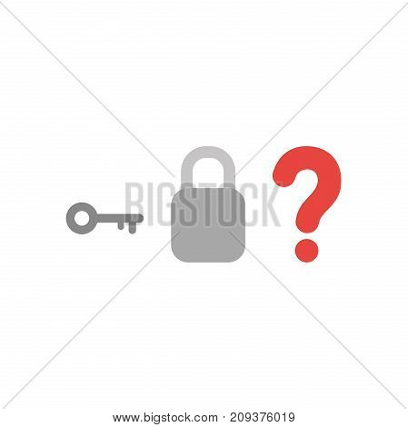 Flat Design Style Vector Concept Of Key With Padlock Without Keyhole And Question Mark