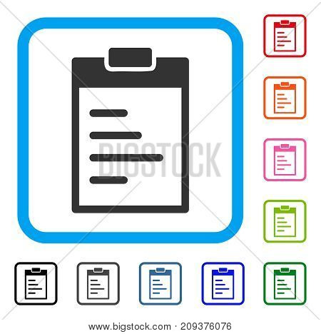 Pad Text icon. Flat grey iconic symbol inside a light blue rounded frame. Black, gray, green, blue, red, orange color additional versions of Pad Text vector.