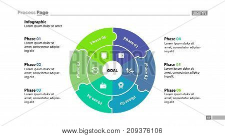 Six sectors process chart slide template. Business data. Structure, circle, design. Creative concept for infographic, presentation, report. Can be used for topics like marketing, recruitment, analytics.