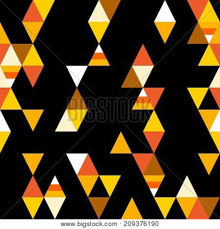 Abstract seamless pattern with colorful triangles and stylized candy corn on black background. Vector.