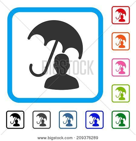 Patient Care Umbrella icon. Flat gray pictogram symbol inside a light blue rounded rectangular frame. Black, gray, green, blue, red, orange color versions of Patient Care Umbrella vector.