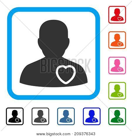 Patient Heart icon. Flat gray pictogram symbol in a light blue rounded square. Black, gray, green, blue, red, orange color variants of Patient Heart vector.