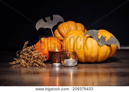 composition for decorating the house for halloween, yellow and orange pumpkins, burning scented candles, drawings of black bats