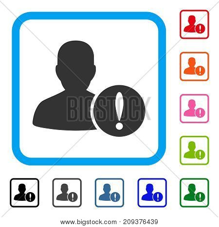 Patient Problem icon. Flat grey iconic symbol in a light blue rounded rectangular frame. Black, gray, green, blue, red, orange color additional versions of Patient Problem vector.