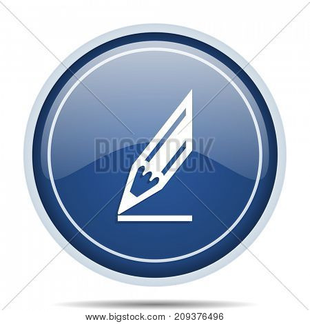 Pencil blue round web icon. Circle isolated internet button for webdesign and smartphone applications.