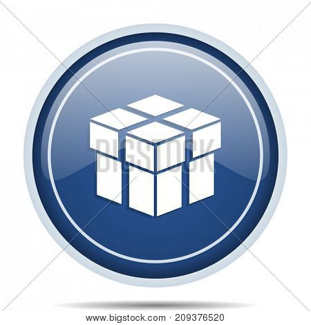 Box blue round web icon. Circle isolated internet button for webdesign and smartphone applications.