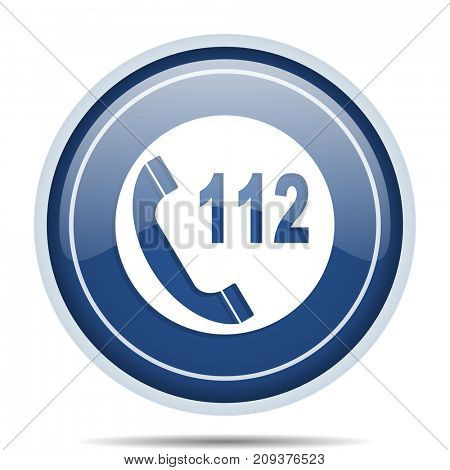 Emergency call blue round web icon. Circle isolated internet button for webdesign and smartphone applications.