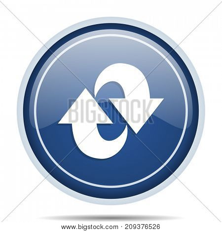 Rotation blue round web icon. Circle isolated internet button for webdesign and smartphone applications.