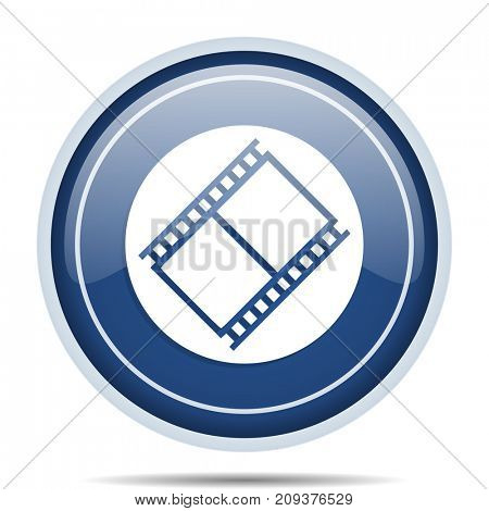 Film blue round web icon. Circle isolated internet button for webdesign and smartphone applications.