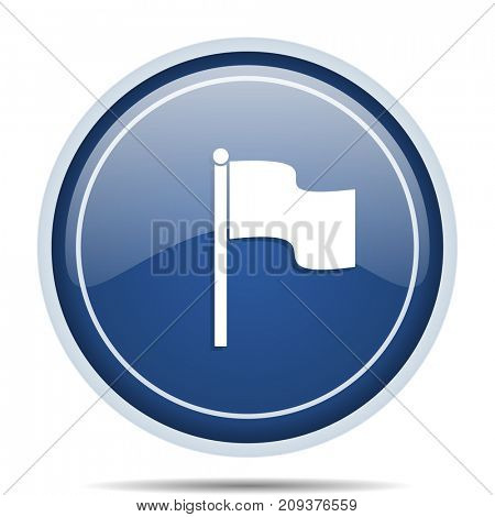 Flag blue round web icon. Circle isolated internet button for webdesign and smartphone applications.