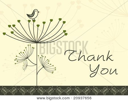 abstract floral background with thank you text and bird