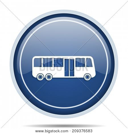 Bus blue round web icon. Circle isolated internet button for webdesign and smartphone applications.
