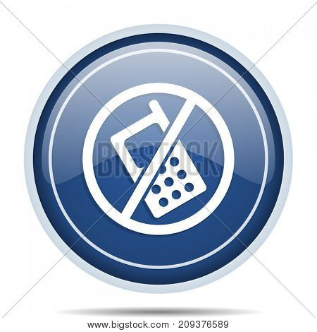 No phone blue round web icon. Circle isolated internet button for webdesign and smartphone applications.
